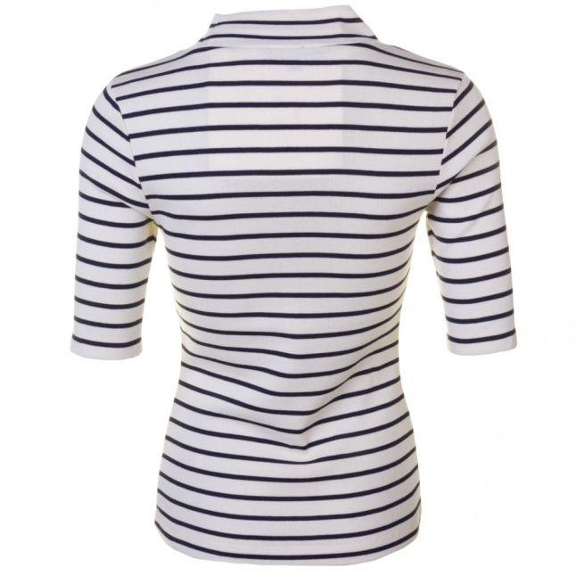 Womens Cream & Nocturnal Duty Stripe S/s Polo Top