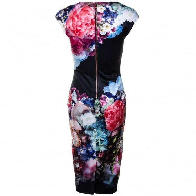 Womens Dark Blue Brynee Focus Bouquet Neoprene Dress