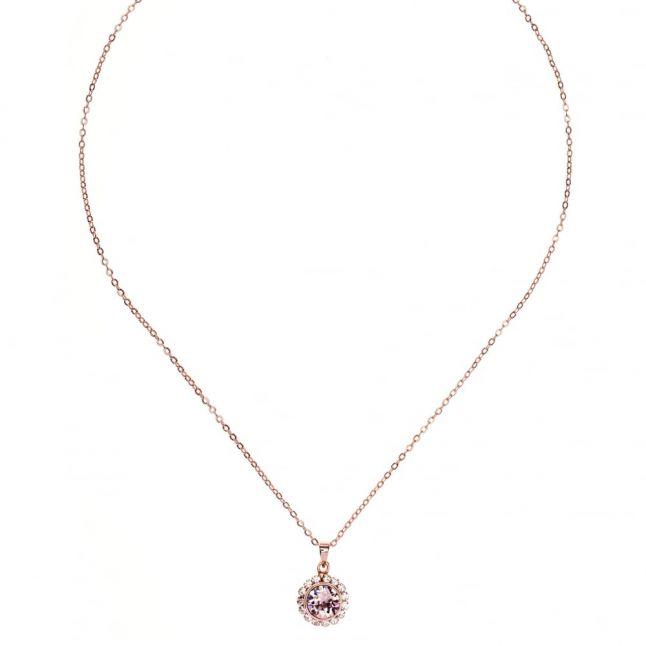 Womens Rose Gold & Vintage Sela Crystal Pendant Necklace