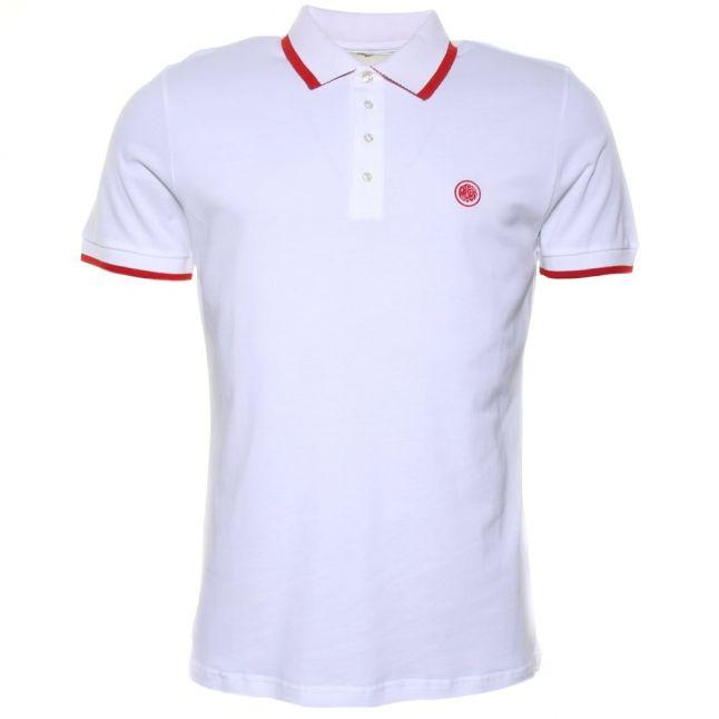 Mens White Multistripe S/s Polo Shirt
