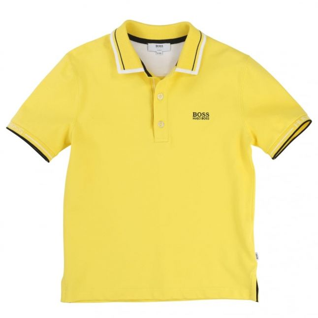 Boys Yellow Branded Trim S/s Polo Shirt