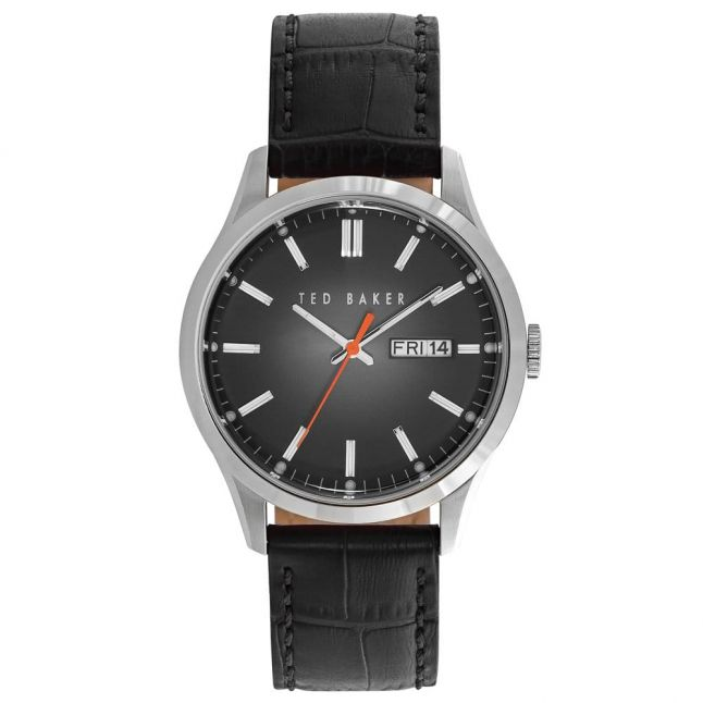 Mens Black Sunray Leather Strap Watch