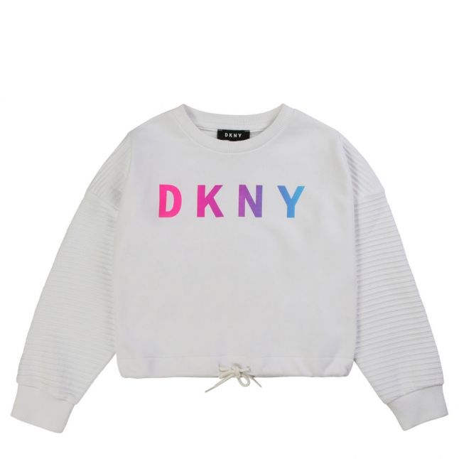 Girls White Ombre Logo Sweat Top
