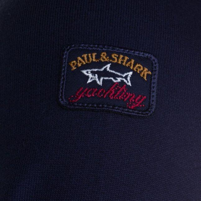 Paul & Shark Mens Navy Shark Fit Raised Logo Crew Sweat Top