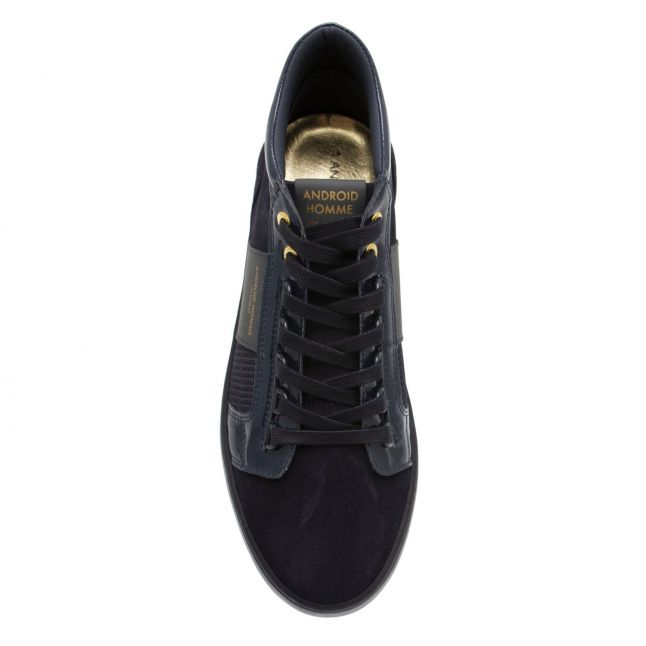 Mens Navy Patent Suede Propulsion Mid Geo Trainers