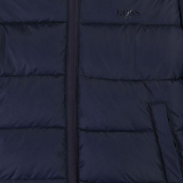 Boys Navy Branded Hooded Padded Coat
