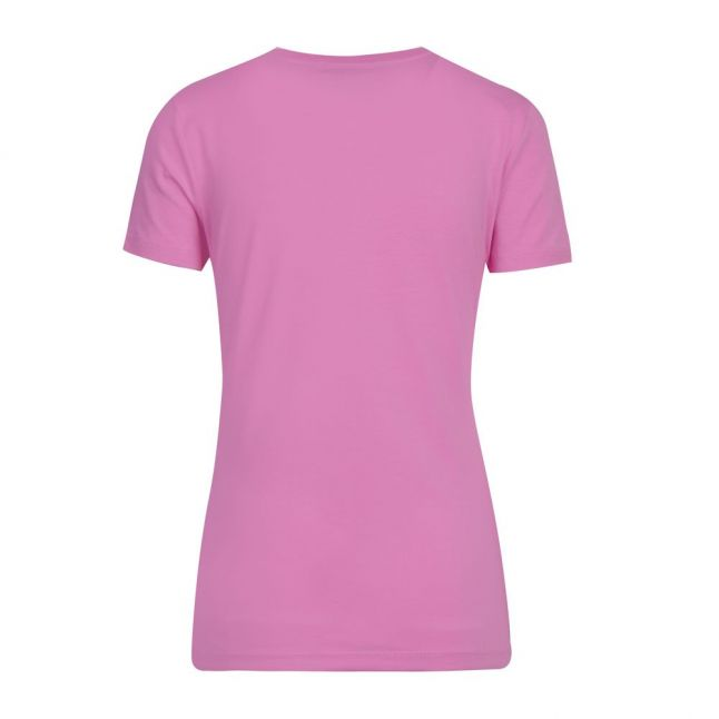Womens Pink Crystal Heart Slim Fit S/s T Shirt