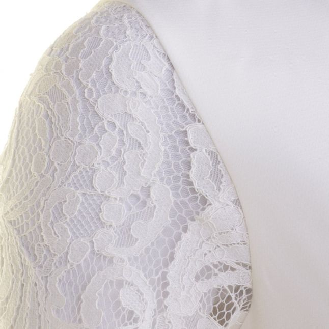 Womens Ecru Jessin Lace Sleeve Top
