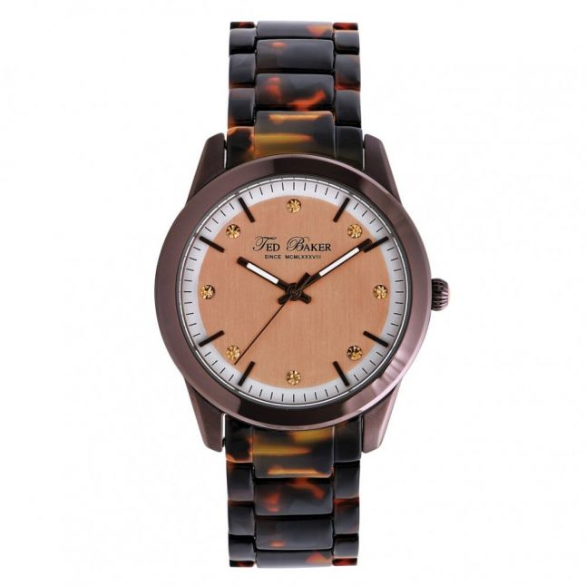 Womens Brown Dial Brown Tortoise Shell Strap Watch