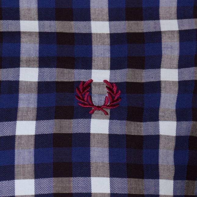 Mens Mid Blue Herringbone Gingham L/s Shirt