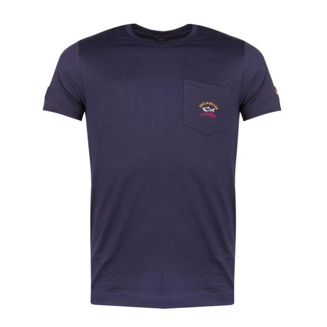 Mens Navy Pocket Logo Shark Fit S/s T Shirt