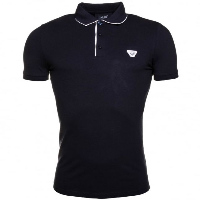 Mens Blue Slim Fit S/s Polo Shirt