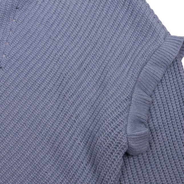 Womens Ashley Blue Viblu Ruffle Sleeve Knitted Jumper