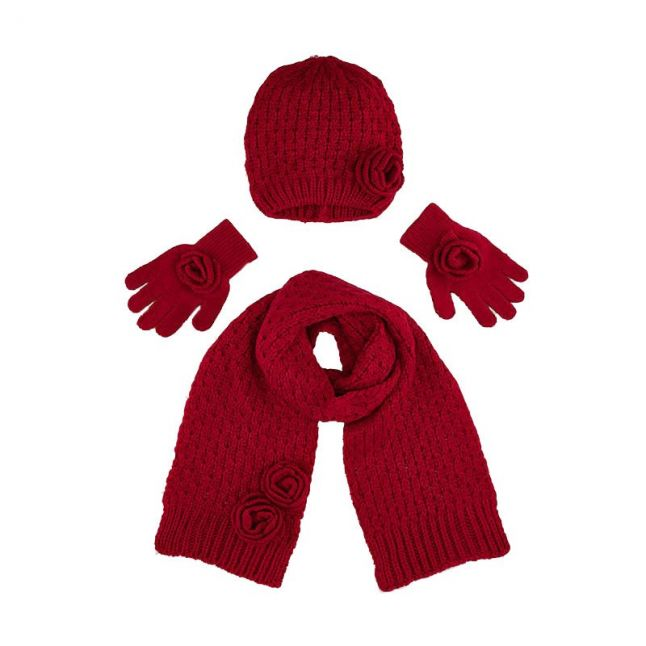 Girls Red Knitted Hat, Gloves & Scarf Set