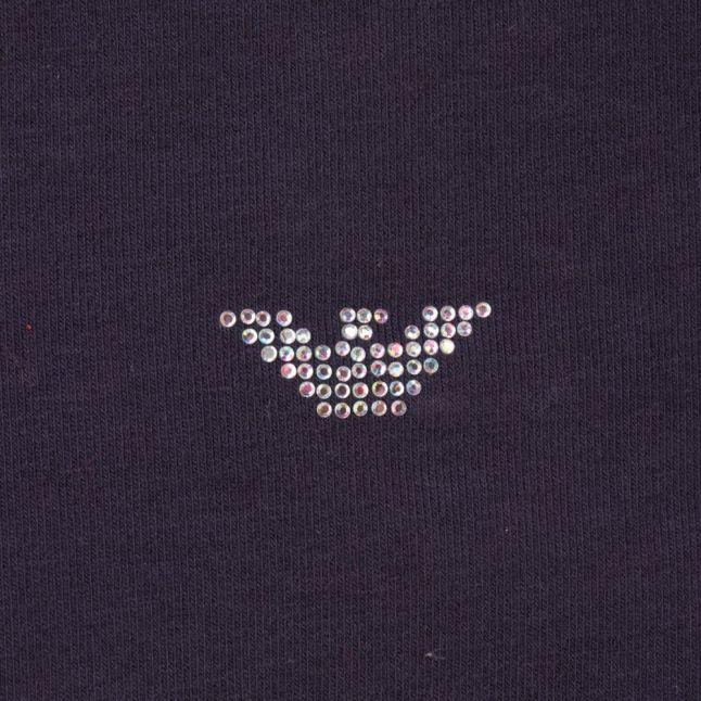Baby Navy Diamante Logo L/s Tee Shirt
