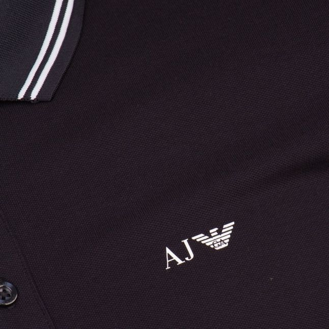 Mens Navy Tipped Regular Fit S/s Polo Shirt