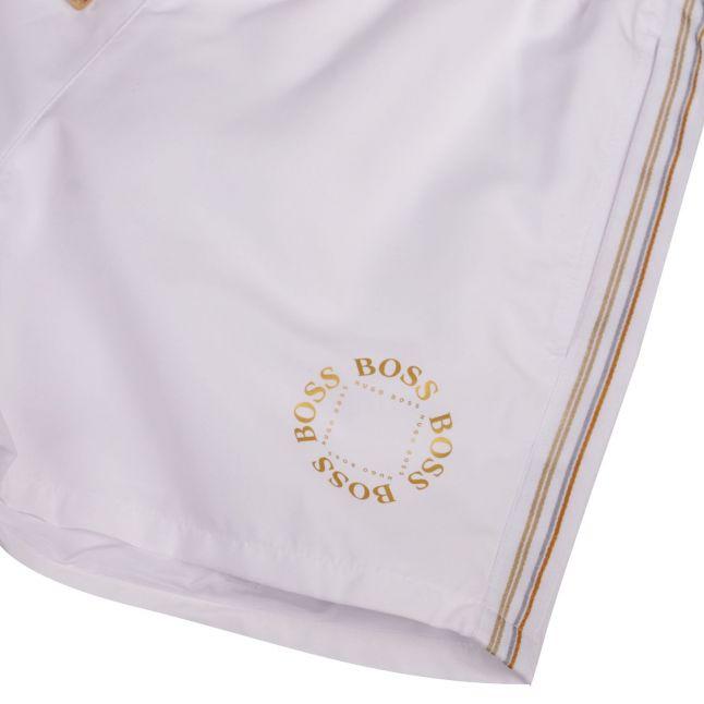 BOSS Mens White Boxfish Gold Logo Swim Shorts