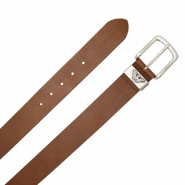 Mens Dark Brown Branded Metal Tab Belt