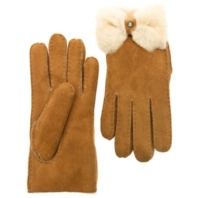 Womens Chestnut Classic Bow Shorty Gloves
