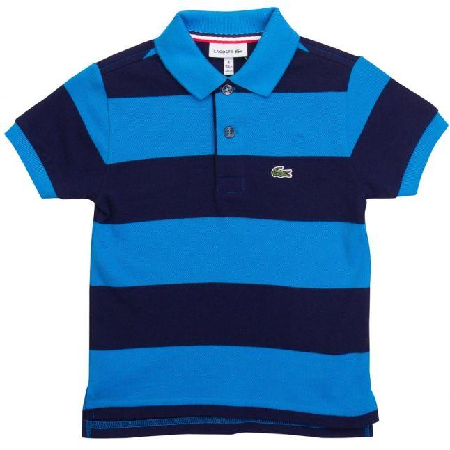Boys Wxz Turqoise Striped S/s Polo Shirt