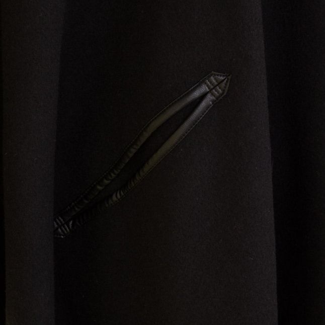 Womens Black Trim Detail Knitted Cape