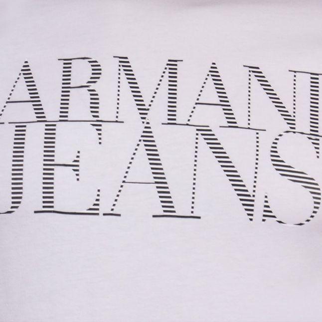 Mens White Stripe Chest Logo S/s Tee Shirt