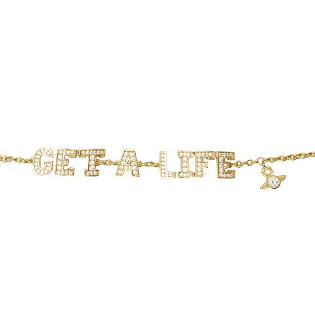 Womens Gold/White Get a Life Bracelet