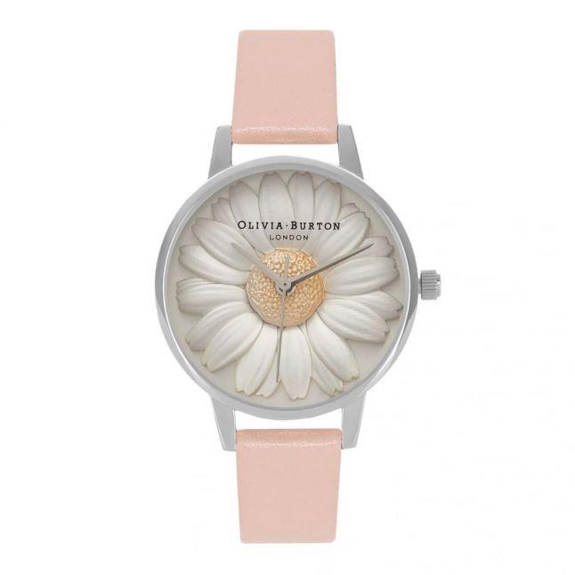 Womens Dusty Pink & Silver Flower Show 3D Daisy Watch