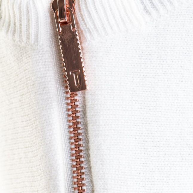 Womens Ecru Fondy Asymmetric Zip Knitted Jumper
