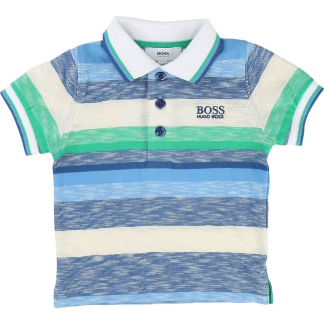 Baby White & Blue Striped S/s Polo Shirt