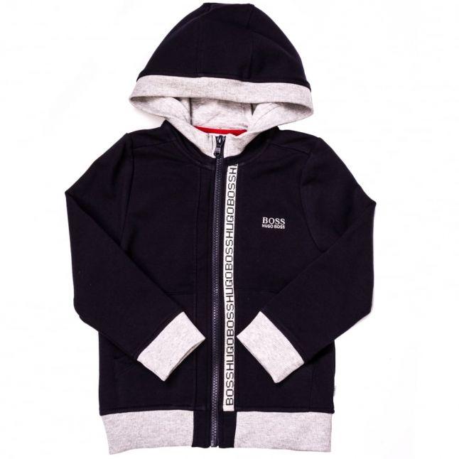 Boys Navy Branded Hooded Zip Sweat Top
