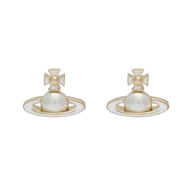 Gold/Pearl/White Iris Bas Relief Earrings