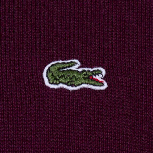 Mens Burgundy Cotton Crew Knitted Jumper