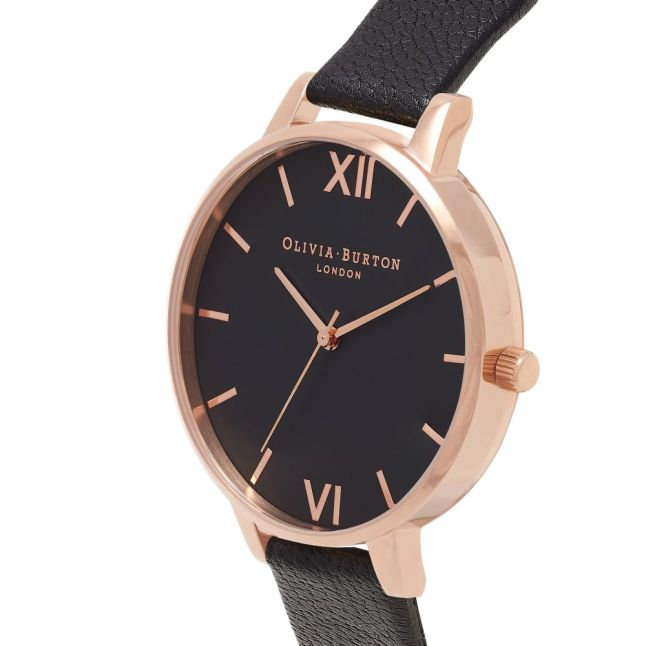 Womens Black/Rose Gold Dial Watch