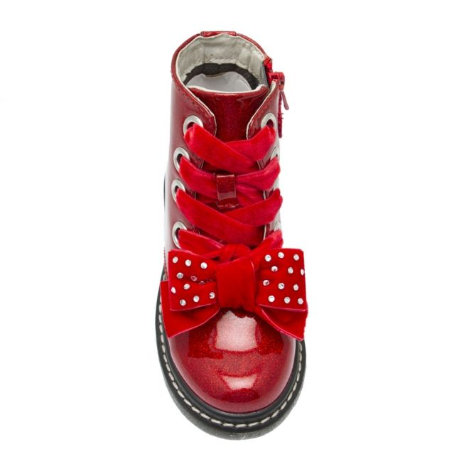 Girls Red Glitter Fior Di Fiocco Bow Boots (26-35)