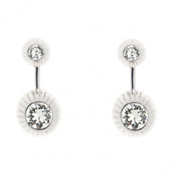 Womens Silver & Crystal Areal Drop Earrings