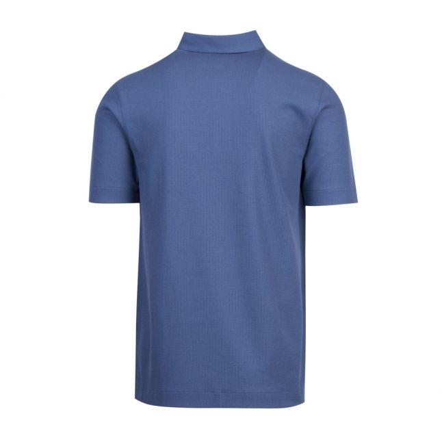 Mens Blue Button Down Collar S/s Polo Shirt