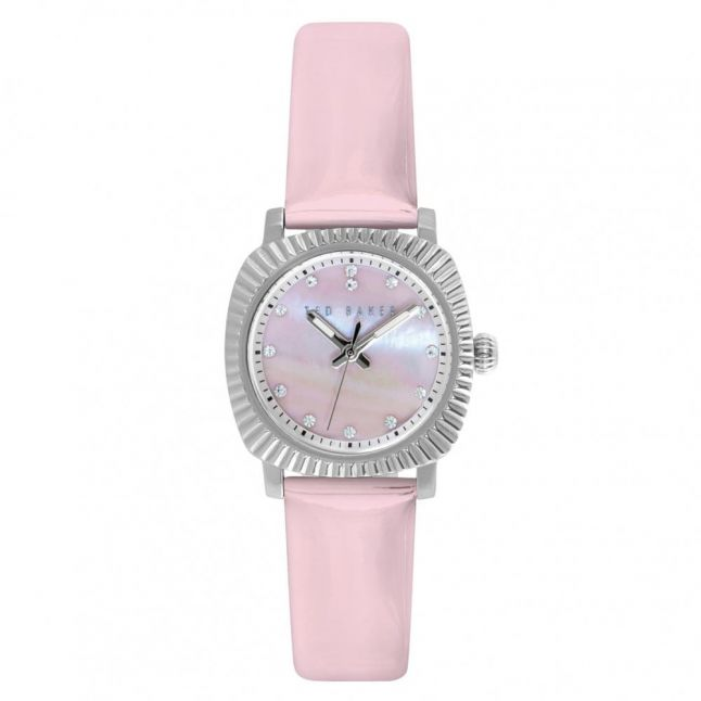 Womens Pink Mother of Pearl Dial Pink Patent Leather Strap Watch