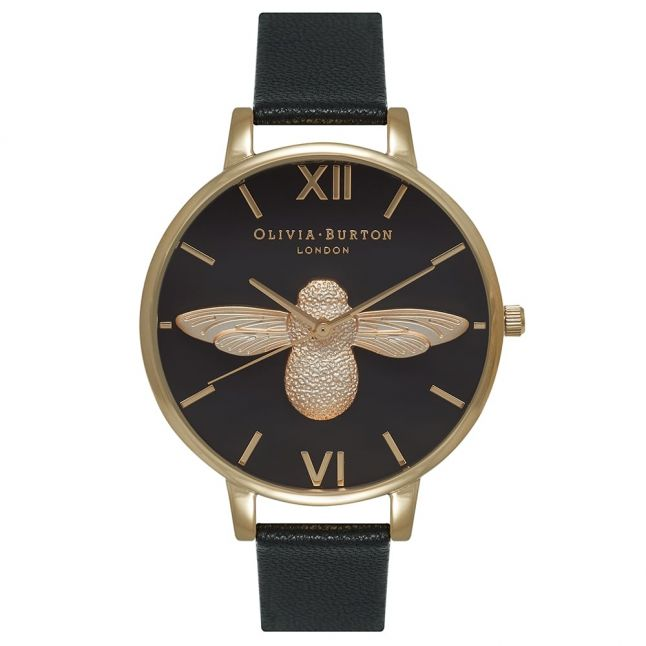 Womens Black Dial & Gold Animal Motif Moulded Bee Watch