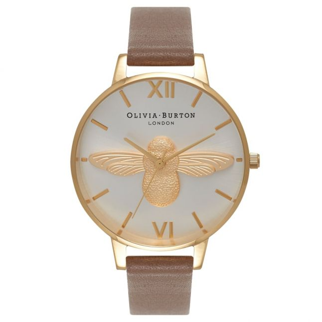 Womens Taupe Gold & Silver Animal Motif Moulded Bee Watch