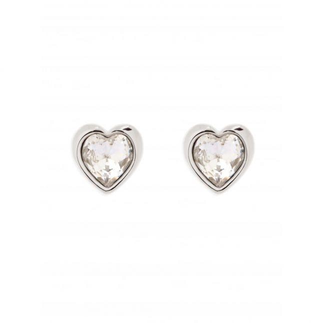 Womens Silver Crystal Heart Earrings