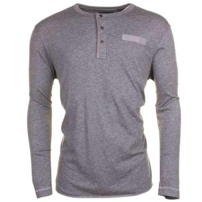 Mens Grey Heather Classic Granddad L/s Tee Shirt