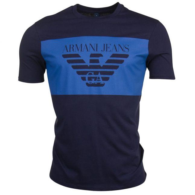 Mens Navy Block Logo S/s Tee Shirt