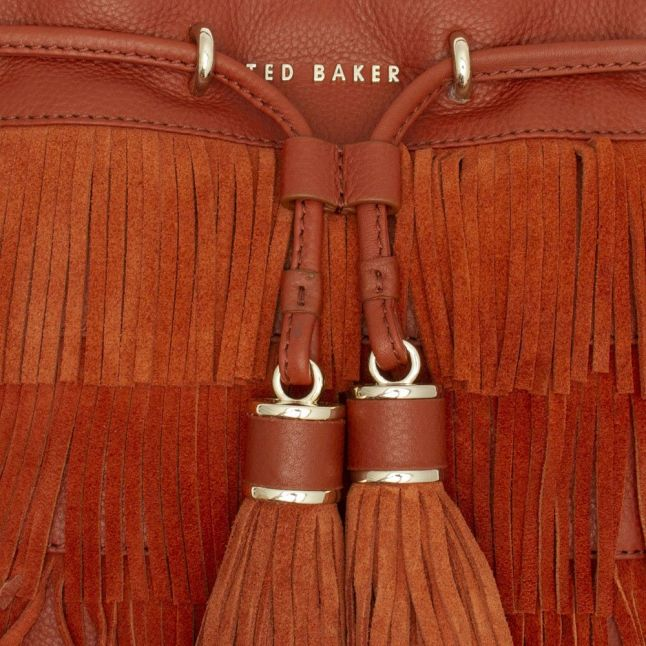 Womens Brown Tan Paralee Braided Mini Bucket Bag