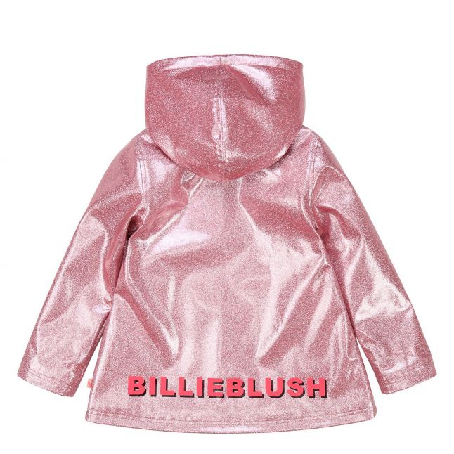Girls Pink Glitter Branded Raincoat