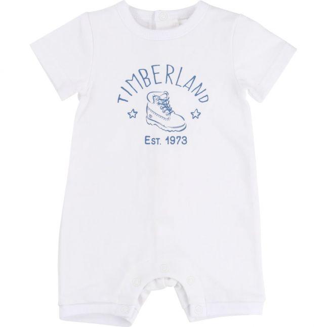 Baby White Boot S/s Romper