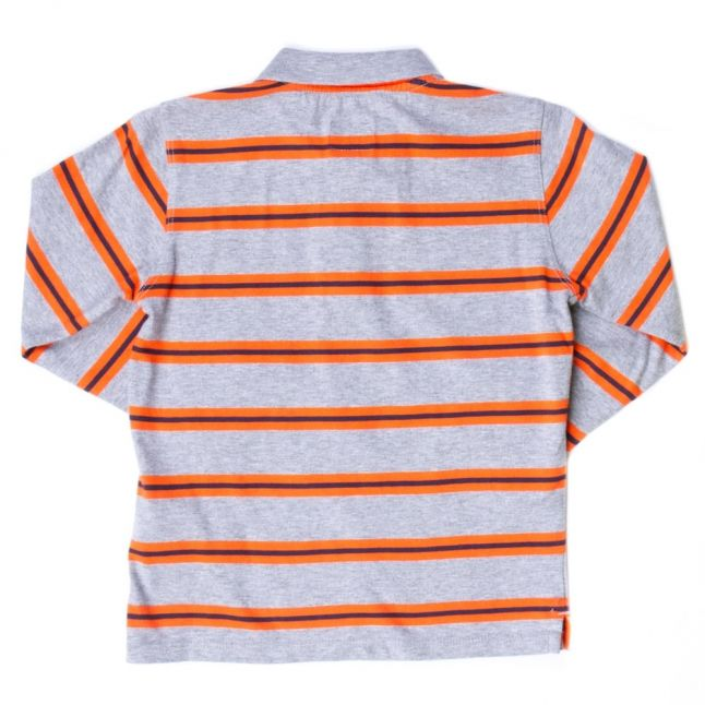 Boys Grey Striped L/s Polo Shirt