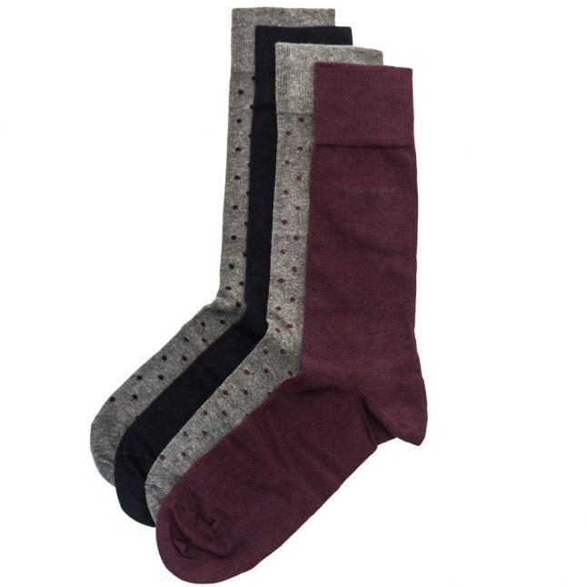 Mens Medium Purple 4 Pair Socks Design Boxed Gift Set