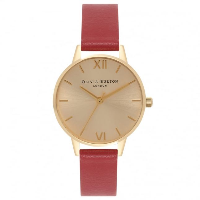 Womens Red & Gold Midi Dial Watch