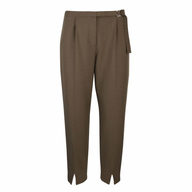 Womens Khaki Starme Belted Tailored Trousers